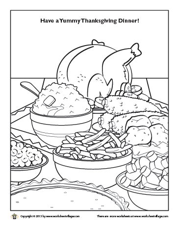 365x465 Thanksgiving Dinner Coloring Page Worksheet Village