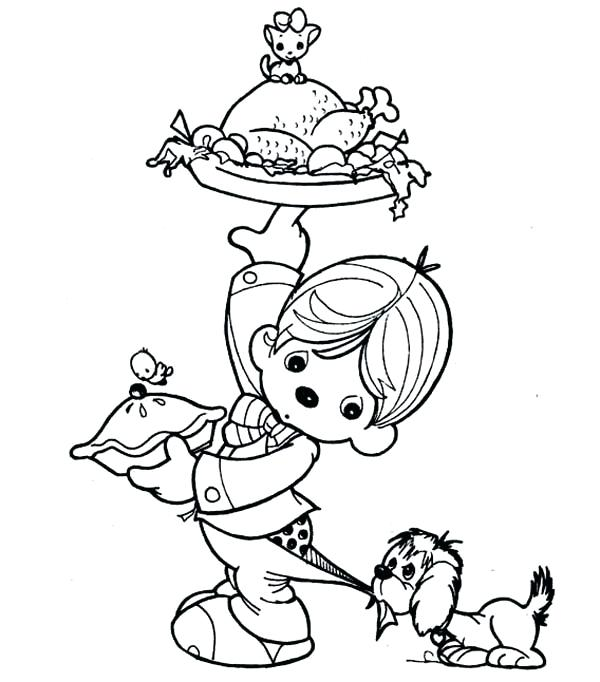 600x682 Thanksgiving Dinner Coloring Pages A Kid Preparing Thanksgiving