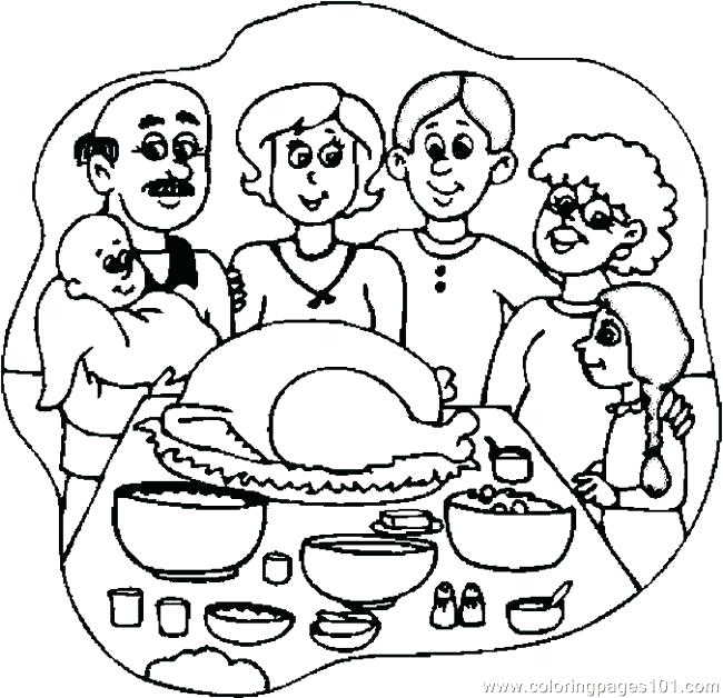 650x628 Thanksgiving Dinner Coloring Pages Dinner Coloring Pages X