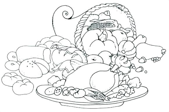 580x385 Thanksgiving Dinner Coloring Pages Dinner Plate Coloring Page