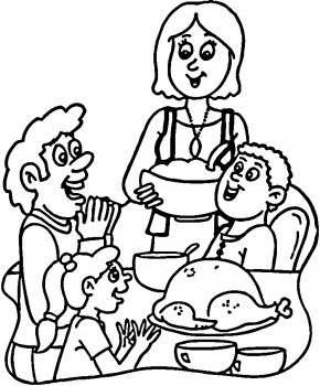 290x350 Thanksgiving Dinner Coloring Pages