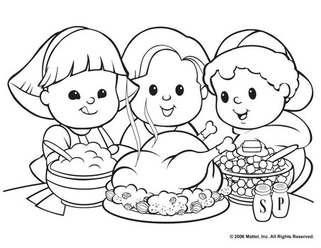453x350 Thanksgiving Feast Coloring Pages