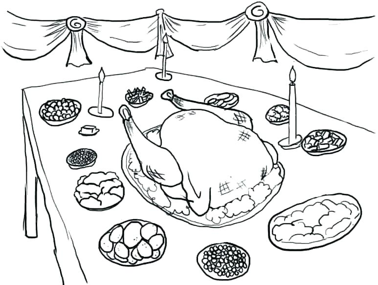 773x584 Thanksgiving Feast Coloring Pages Thanksgiving Dinner Coloring