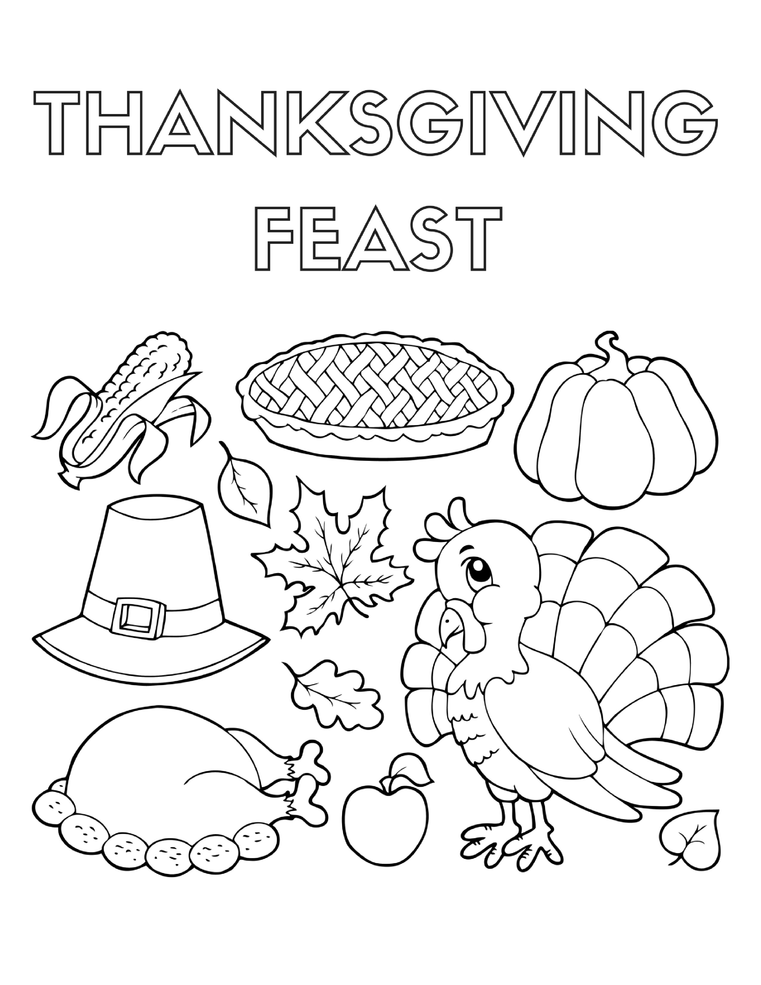 2550x3300 Thanksgiving Family Dinner Coloring Pages Free Draw To Color