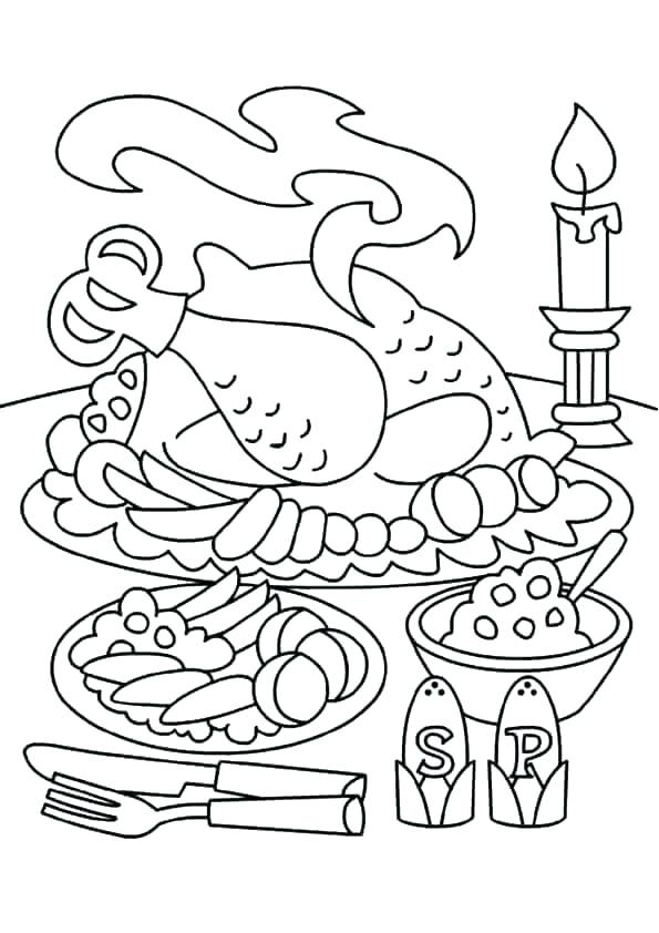 595x842 Coloring Pages Of Thanksgiving Dinner Thanksgiving Feast Coloring