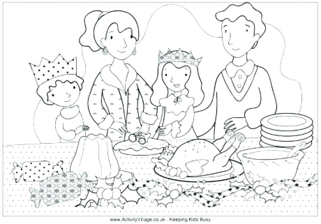 1024x715 Thanksgiving Dinner Coloring Pages Dinner Coloring Pages X