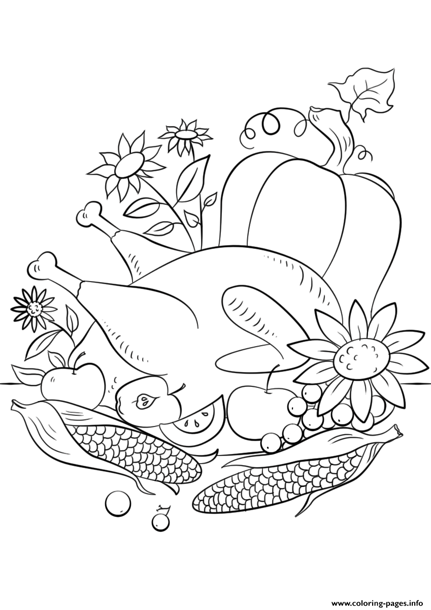 849x1200 Thanksgiving Food Coloring Pages Printable