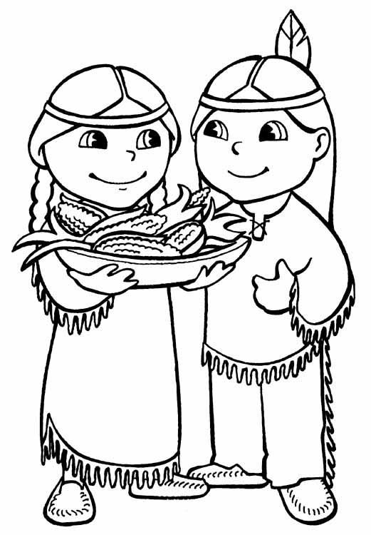 521x750 Indian Coloring Pages For Thanksgiving