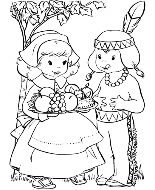 520x636 Pilgrim And Indian Coloring Pages Thanksgiving