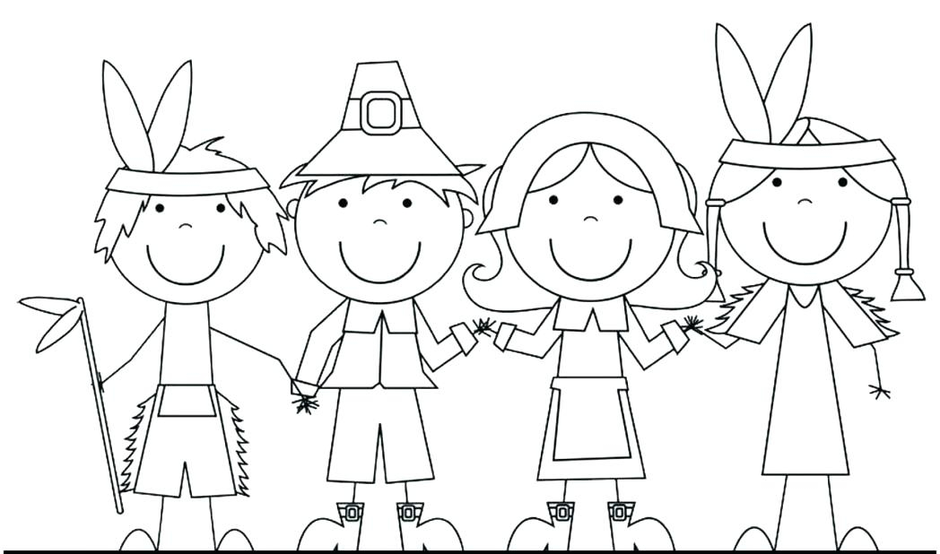 1048x618 Pilgrim And Indian Coloring Pages Thanksgiving Diy Coloring Page