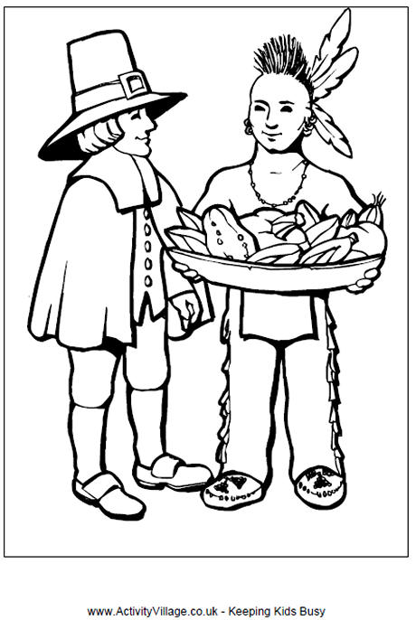 460x686 Pilgrim And Indian Colouring Page Thanksgiving Activities For Kids