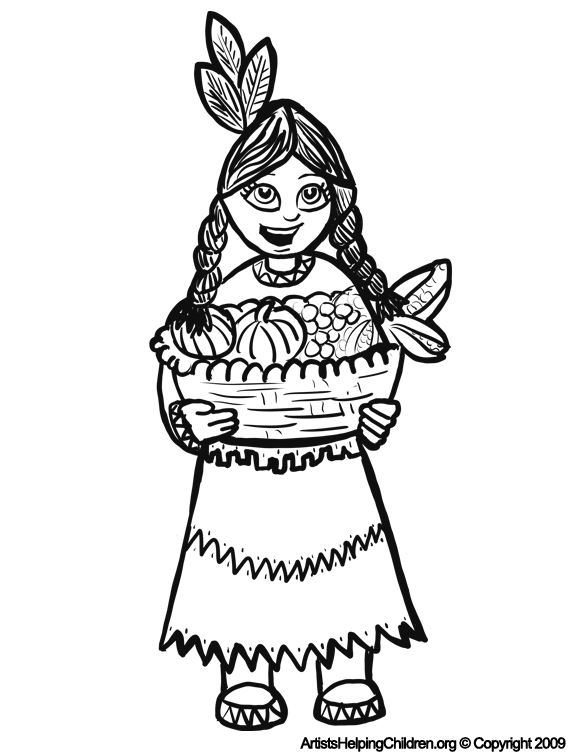 576x756 Thanksgiving Indian Girls Coloring Pages Printouts Turkey