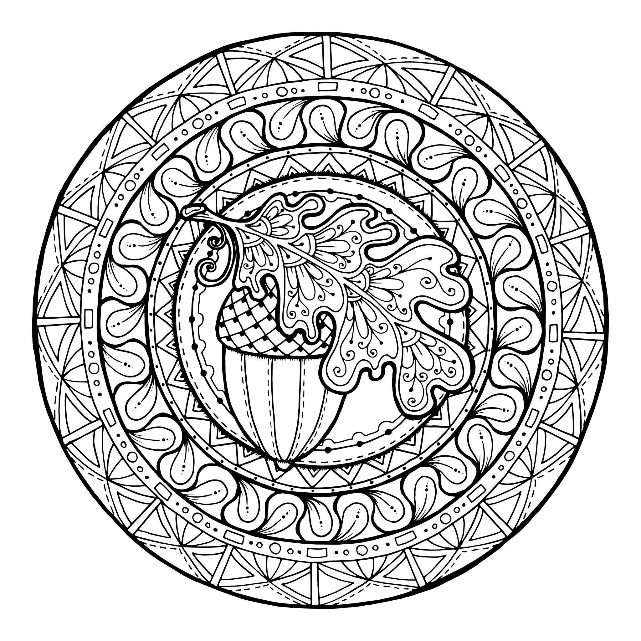 2048x2048 Mandala Acorn And Oak Leaves Mandala