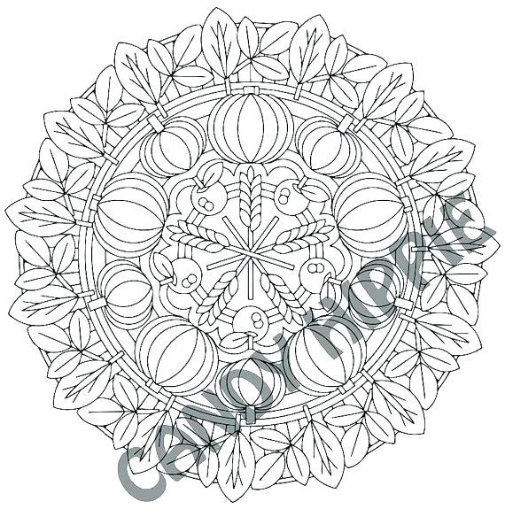 570x575 Autumn Mandala Coloring Pages Thanksgiving Fa