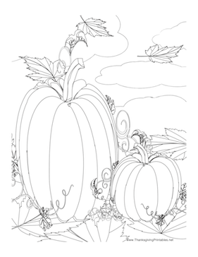 281x364 This Thanksgiving Coloring Page Features Two Pumpkins In A Pumpkin