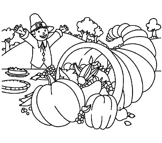 Thanksgiving Table Coloring Page