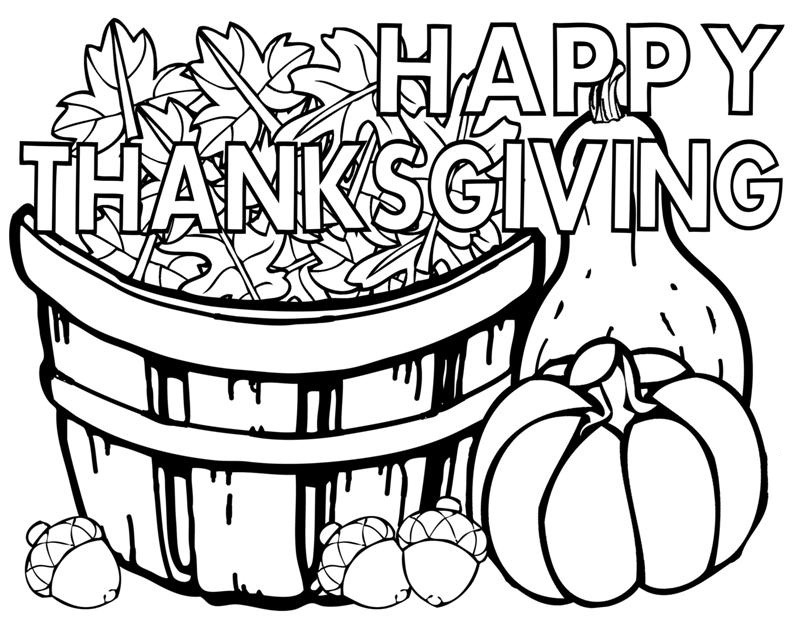 800x619 Happy Thanksgiving Coloring Pages For Kids
