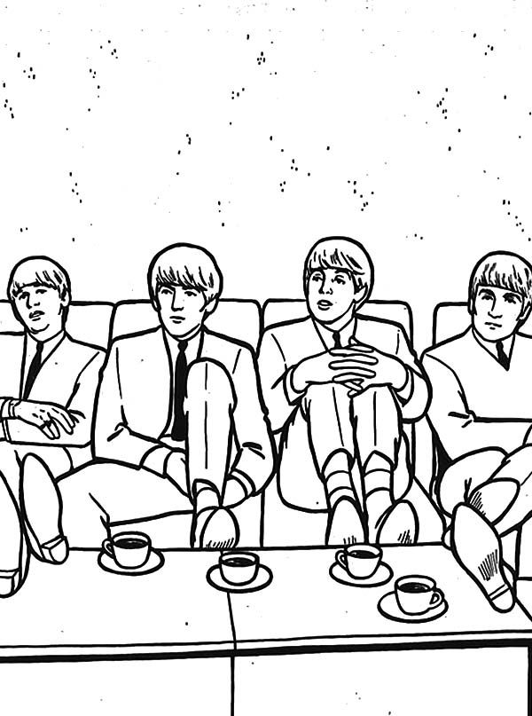 600x807 The Beatles, The Beatles Drinking Tea Coloring Pages The Beatles