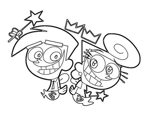 600x500 Wanda And Cosmos Big Grin In The Fairly Odd Parents Coloring Page