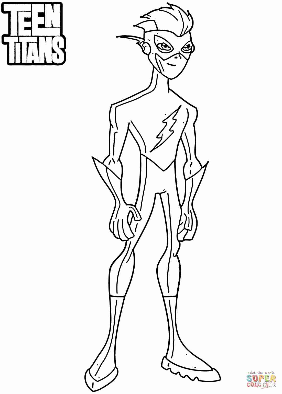 1102x1542 Teen Titans Kid Flash Coloring Page Free Printable Pages Simple