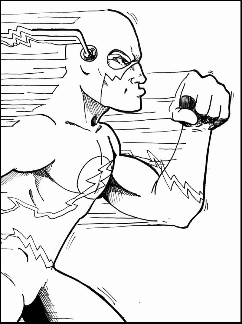 800x1069 The Flash Coloring Pages With Dazzling Image