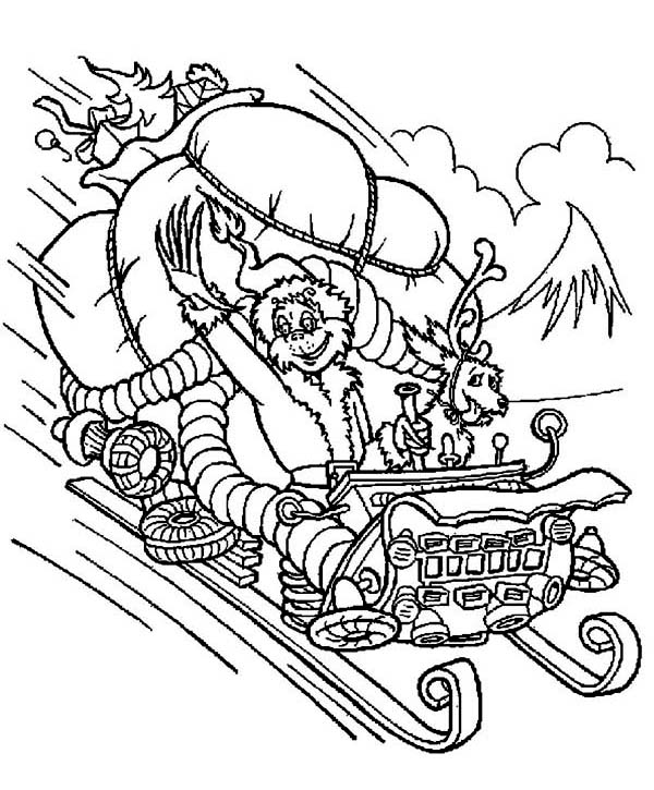 600x725 The Grinch Stolen Santas Sleigh Coloring Page