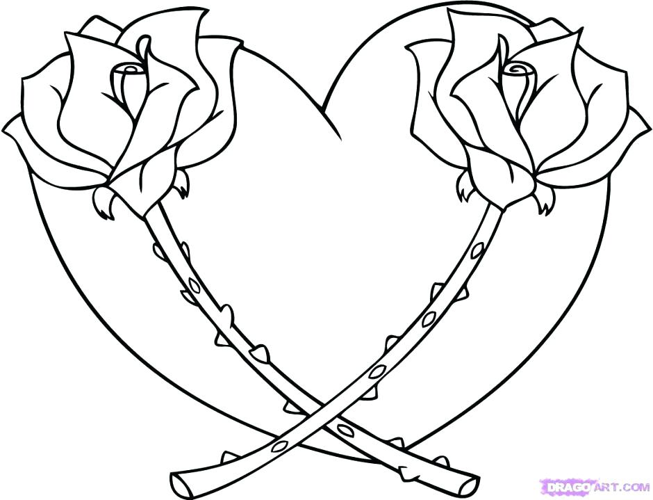 940x719 Flower And Heart Coloring Pages Coloring Page Of A Heart Hearts