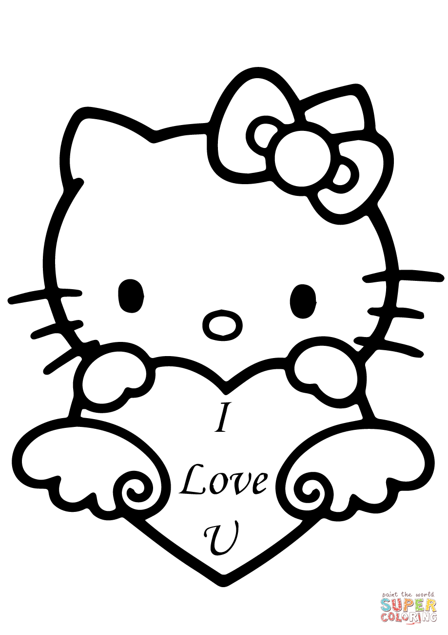 919x1300 Hello Kitty With I Love You Heart Coloring Page Free Printable