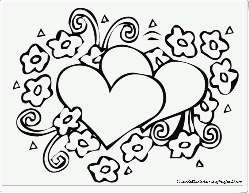 1047x812 Printable Heart Coloring Pages With Printable Heart Coloring