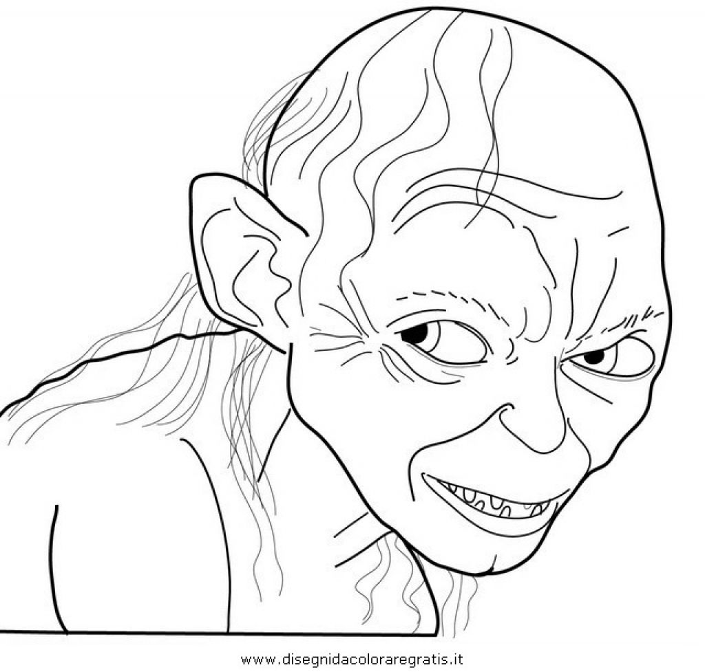 1024x977 Cunning Smeagol From The Hobbit Coloring Page To Print Fantasy