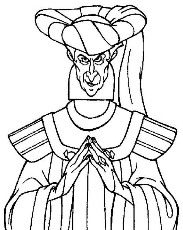 600x756 The Evil Claude Frollo From The Hunchback Of Notre Dame Coloring