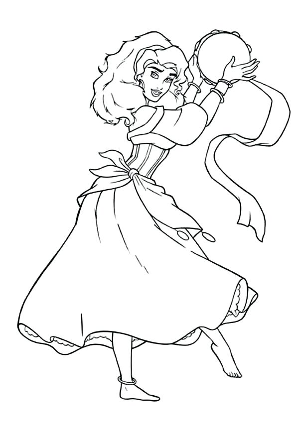 600x870 The Hunchback Of Notre Dame Coloring Pages With Tambourine
