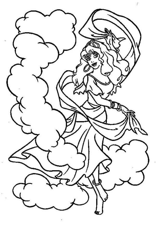 600x864 Esmeralda Dance In The Hunchback Of Notre Dame Coloring Page