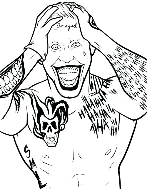 500x642 The Joker Coloring Pages Joker Coloring Page Joker Face Coloring