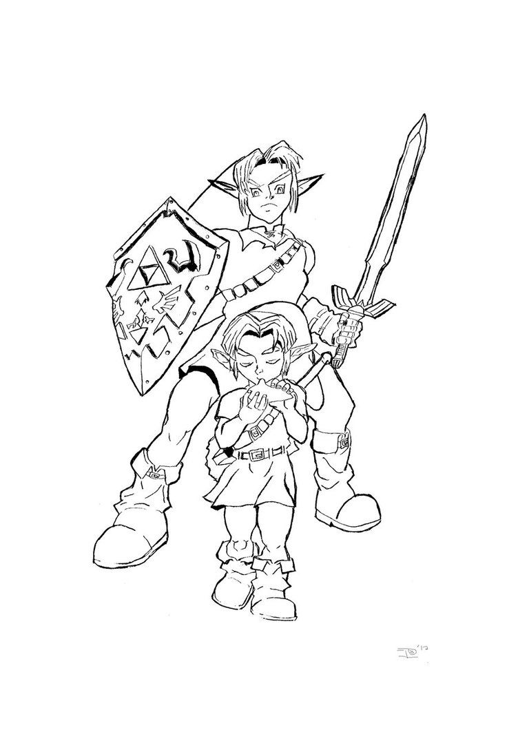 752x1063 link and zelda coloring page free printable pages legend