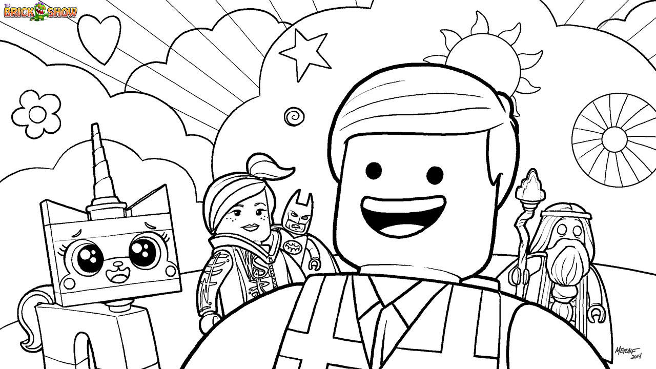 1280x720 The Lego Movie Cast Coloring Page, Printable Sheet