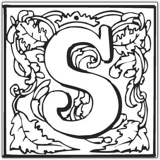 525x525 Fancy Letter S Coloring Pages