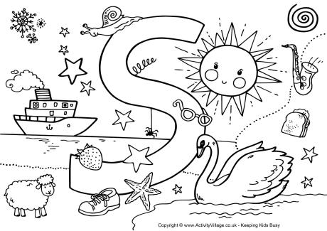 460x325 Letter S Coloring Sheet Letter S Colouring Pages Download