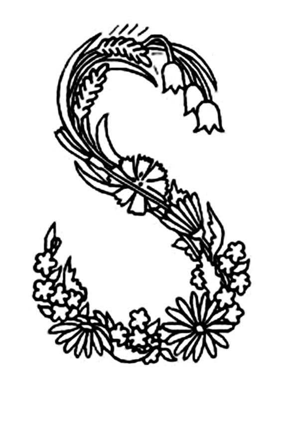 600x848 Alphabet Flowers Letter S Coloring Pages Batch Coloring