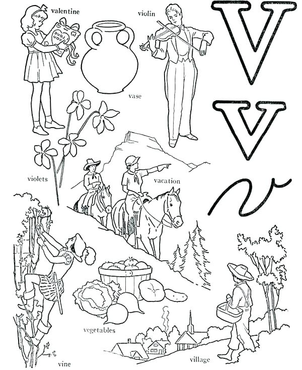 600x734 Letter V Coloring Pages V Coloring Pages Learn Alphabet Letter V