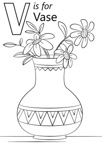 340x480 Letter V Is For Vase Coloring Page In Letter V Coloring Pages