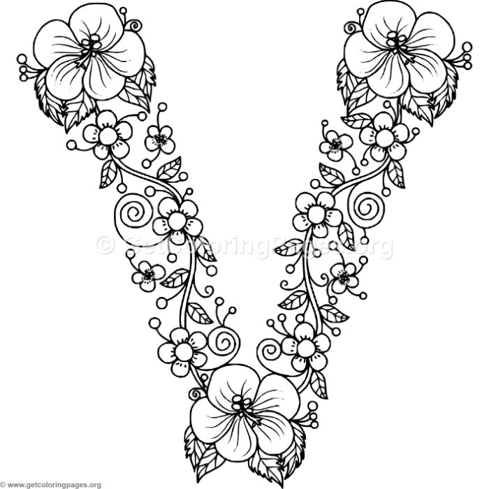 700x700 Floral Alphabet Letter V Coloring Pages