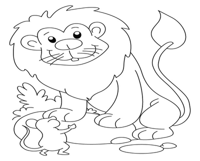 The Lion And The Mouse Coloring Page