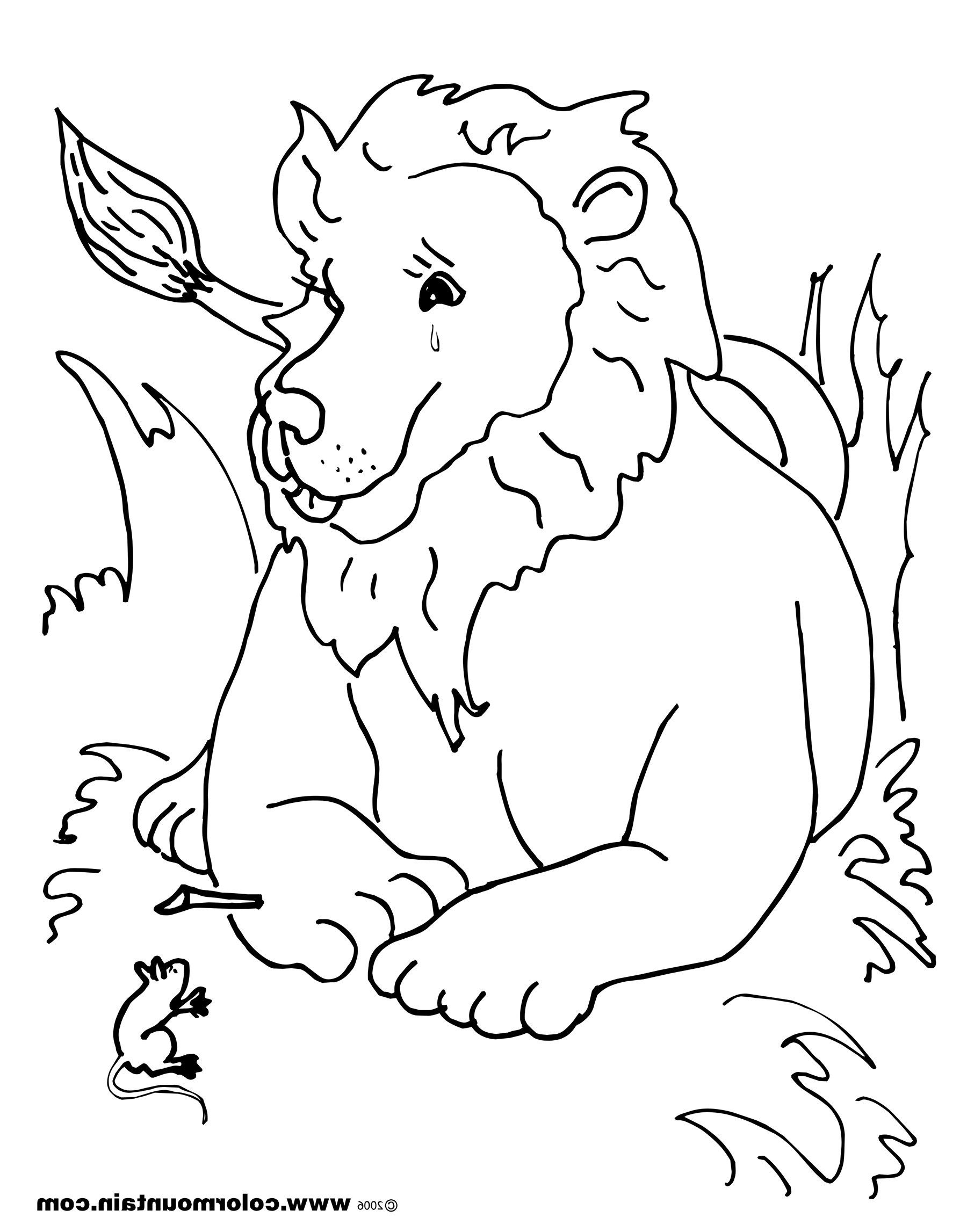 1800x2294 Lion And Mouse Coloring Page The Lion And Mouse Coloring Page