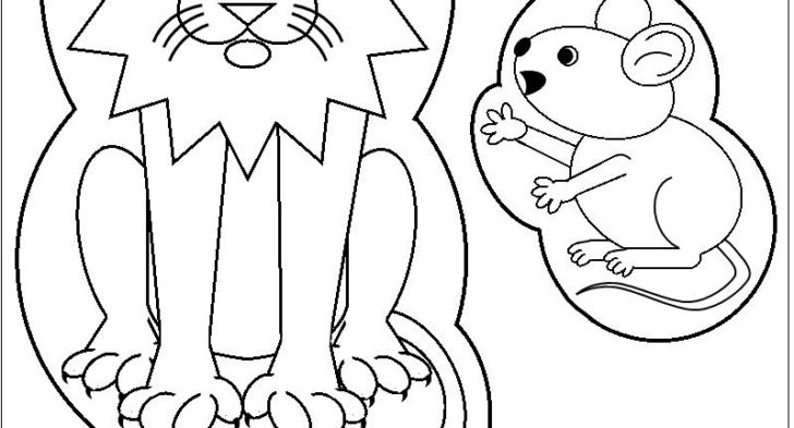 728x393 The Lion And The Mouse Coloring Pages