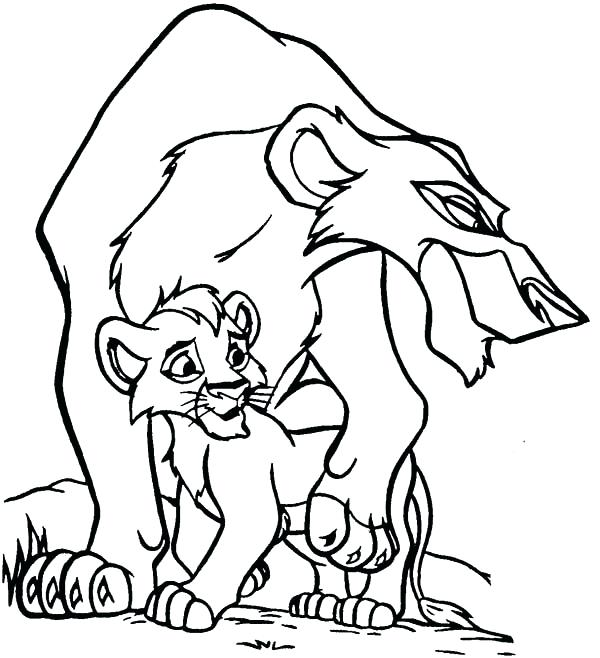 600x658 Coloring Page Lion Lion King Scar And His Son The Lion King
