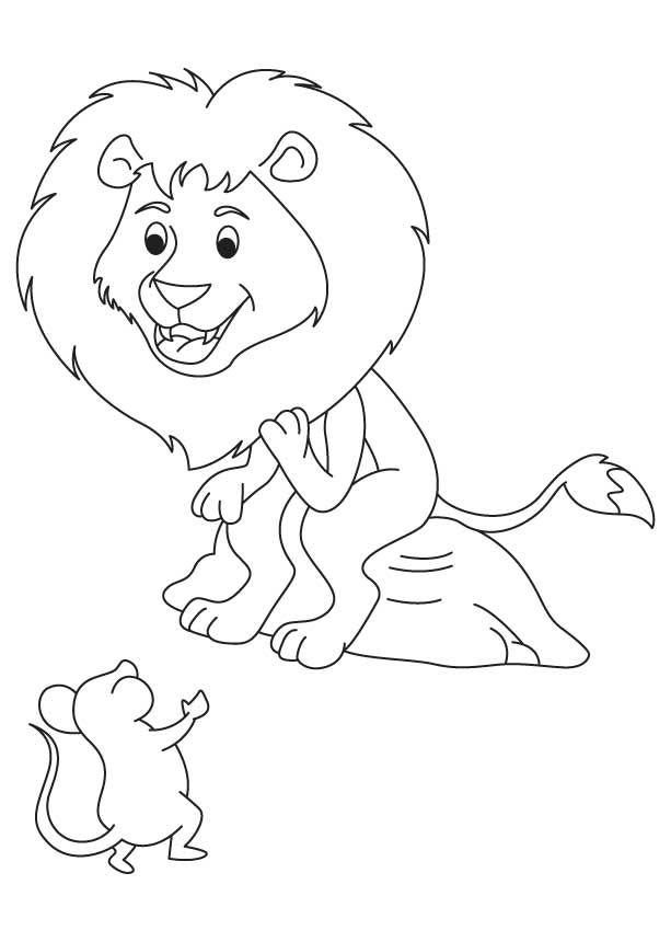 613x860 Happy Lion With Mouse Coloring Page Coloring Pages