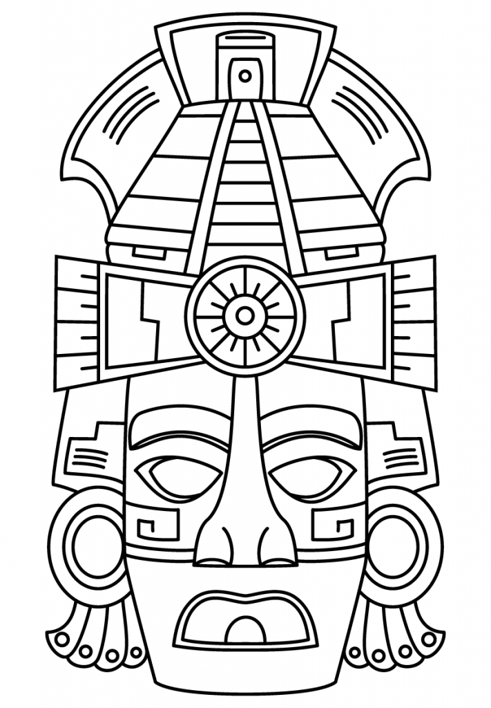 711x1024 Maya Civilization Face Mask Coloring Page