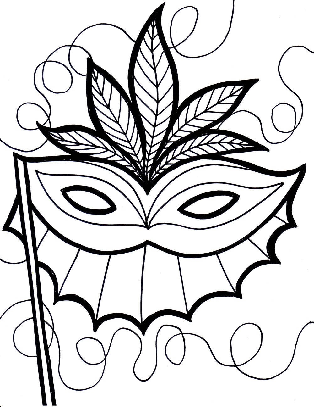 1000x1294 Authentic Carnival Mask Coloring Page Free Pri