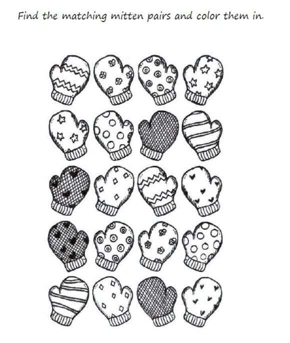 580x685 Preschool Mitten Winter Coloring Pages Printable Zima
